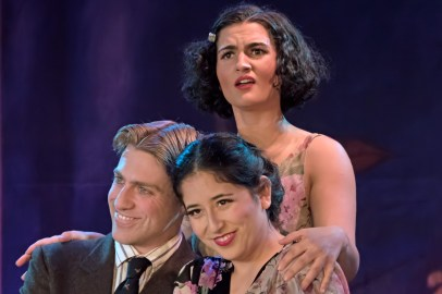 L to R Frankie Stornaiuolo as Scott Fitzgerald, Jannely Calmell as Grace, Emily Dwyer as Zelda Fitzgerald