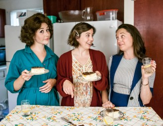 L-R, Chandler Parrott-Thomas as Meg, Jensen Power as Lenny, Margaret Grace Hee as Babe