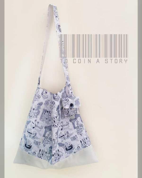 黑白暗銀色藝術風單肩袋 (可加配/訂製同款收納袋&搓手液套)