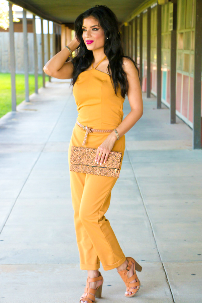 Mustard Color Jumpsuit + Pattern Details - Rosy | Peña