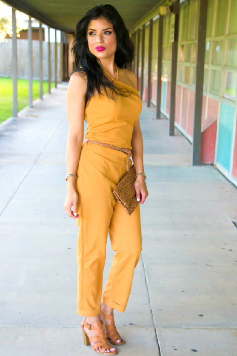 Mustard Color Jumpsuit + Pattern Details - Rosy | Peña