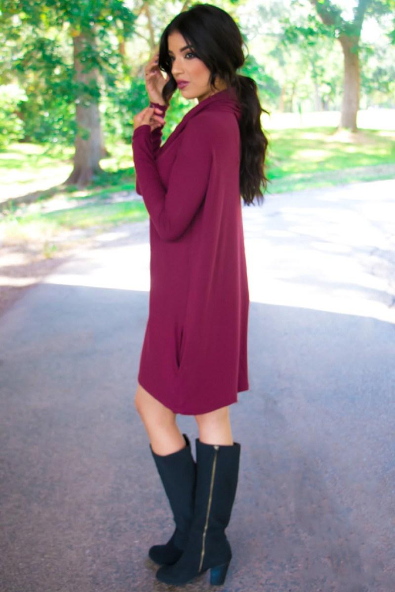 BURGUNDY SWEATER DRESS - ROSY   PEÑA