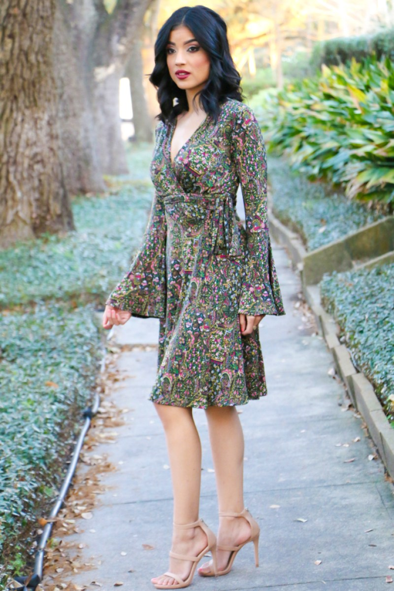 Classic Wrap Dress + Bell Sleeves - ROSY | PEÑA