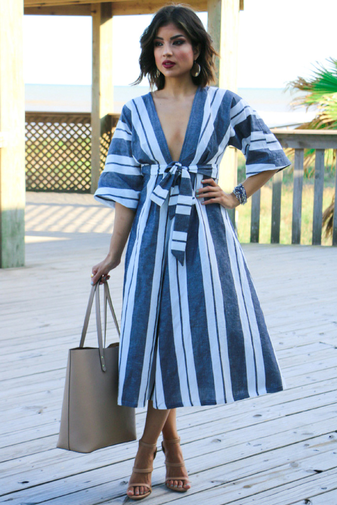 Striped Deep V Dress Vogue 9253