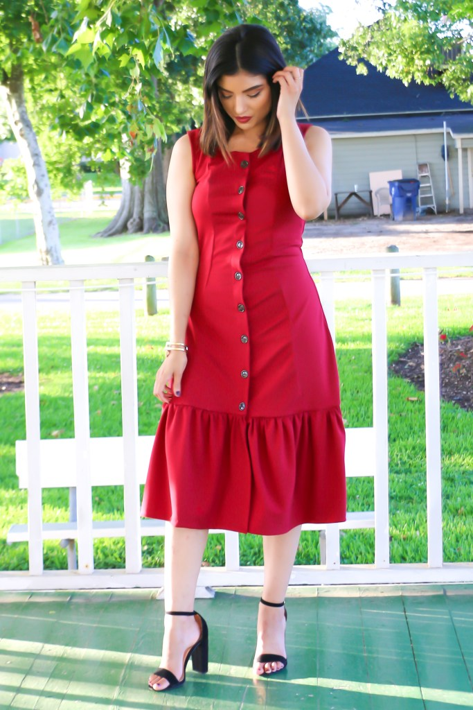 RED RUFFLED ABBY DRESS | ROSY PENA PATTERNS