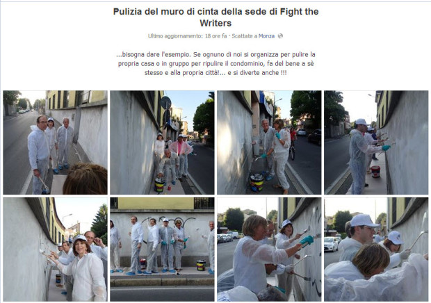 Foto pulizia muro sede Fight the Writers