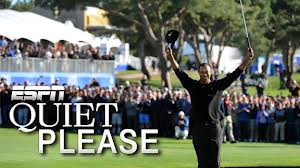Tiger standing on the 18th green at Torrey Pines after a commanding victory in the 2013 Farmers Insurance Open.