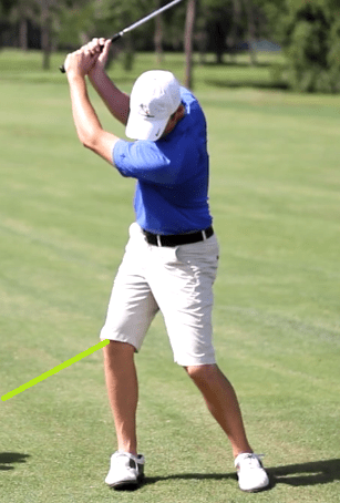 backswing long right knee