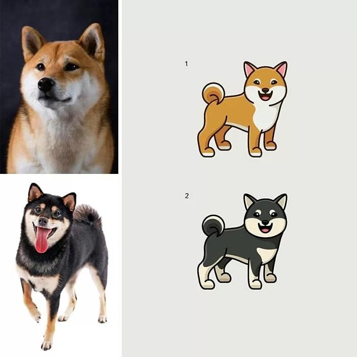 Ilustrações fofas feitas a partir de fotos aleatórias