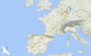 Zugweg Agathe Herbstzug nach Spanien, Rückzug nach Hessen und kurze Winterflucht Ende Februar/ Anfang März 2018.