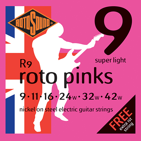 r9 Rotosound Roto nickel wound electric guitar strings. Best quality affordable giutar string for rock pop country metal funk blues