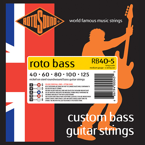 rb40-5 5 string Rotosound Roto Bass strings. Affordable Steel nickel roundwound round wound swingbass bass wire precision jazz Rickenbacker 4003 John Entwistle bajo guitare rock metal medium gauge guage regular bright