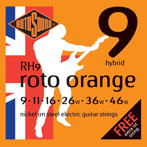 RH9 Rotosound Roto Orange RH 9 Nickel Light Top Heavy Bottom Hybrid Gauge Electric Guitar Strings giutar guage stings srings rock palm muting