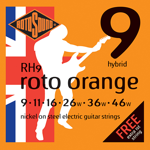 RH9 Rotosound Roto Orange RH 9 Nickel Light Top Heavy Bottom Hybrid Gauge Electric Guitar Strings giutar guage stings srings rock palm muting