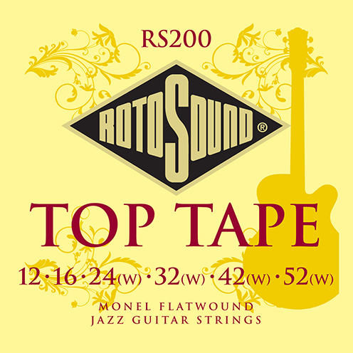 rs200 Rotosound monel flatwound electric jazz guitar strings flat wound tapewound 12 52 stings srings giutar set pack archtop best