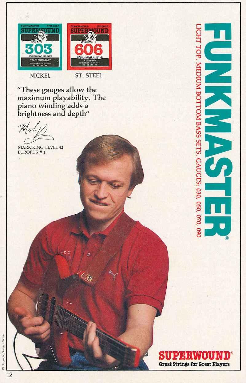 Mark King Rotosound Funkmaster advert 1986