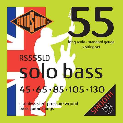 RS555LD 5-string Rotosound RS555 LD Solo Bass strings. Pressure wound pressurewound Steel roundwound round wound swingbass bass wire precision jazz Rickenbacker 4003 bajo guitare rock metal standard gauge regular bright
