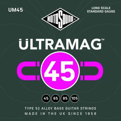 Rotosound Ultramag UM45 Foil Type 52 long scale standard electric bass guitar strings set