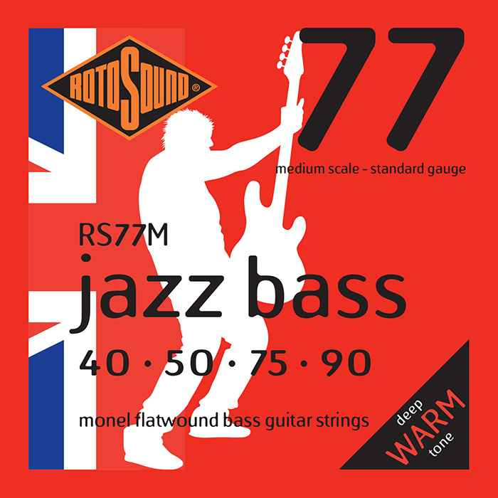 Rotosound RS77 medium scale RS77M M Jazz Bass strings. Steel Monel nickel flatwound round wound jazzbass bass wire precision jazz Rickenbacker 4003 John Entwistle bajo guitare rock jazz standard gauge regular warm full standard gauge guage