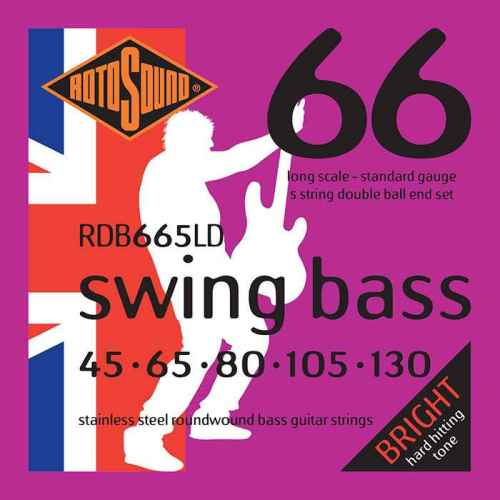 RDB665LD 5 string 5string Double Ball End double ballend doubleball Rotosound RDB665 LD Swing Bass strings. Steel roundwound round wound swingbass bass wire precision jazz Rickenbacker 4003 John Entwistle bajo guitare rock metal standard gauge regular bright