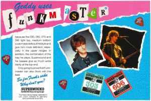 Geddy Lee Rotosound Superwound Funkmaster advert 1987