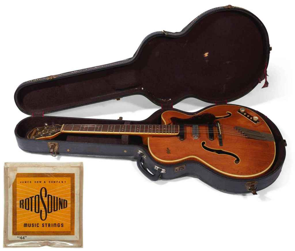George Harrison Hofner President Thinline auction with Rotosound strings