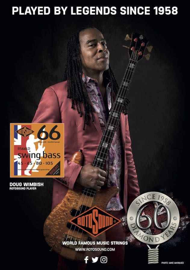 Rotosound Diamond Anniversary advert featuring Living Colour bassist Doug Wimbish