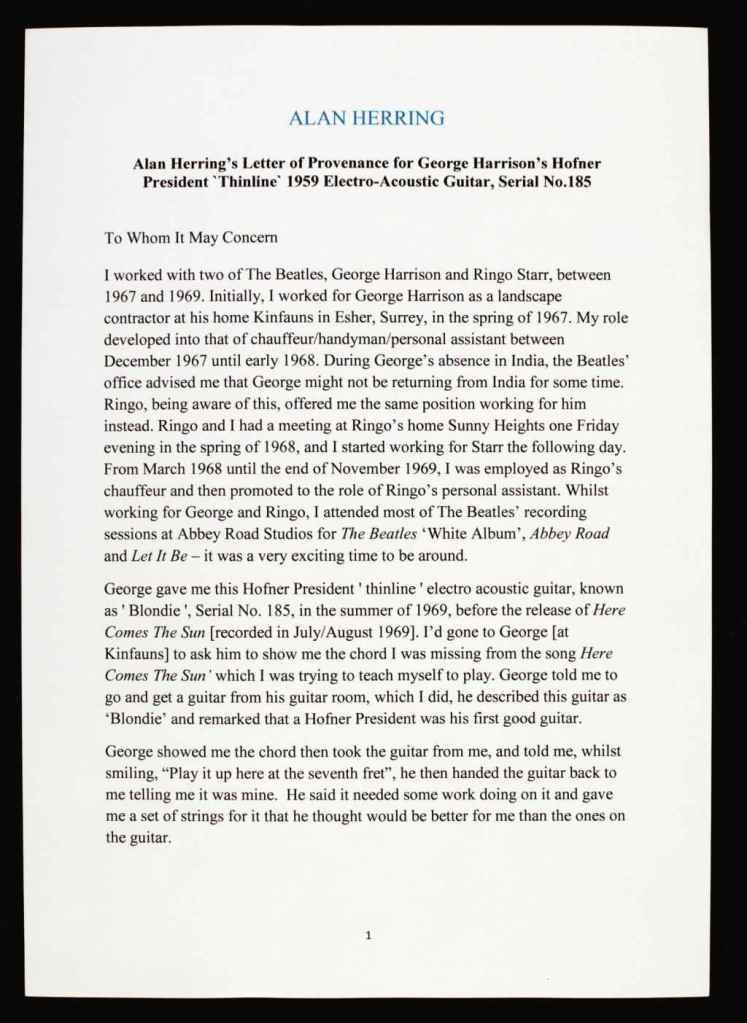 sothebys George Harrison Guitar letter of provedence