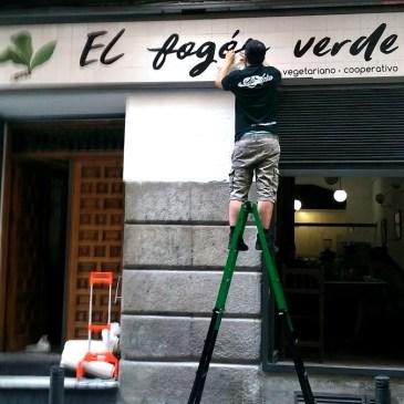 Rótulo restaurante 'El Fogón Verde'