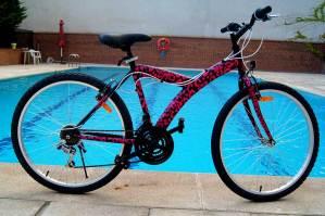 Diseño personalizado de vinilo decorando una bicicleta con manchas de leopardo