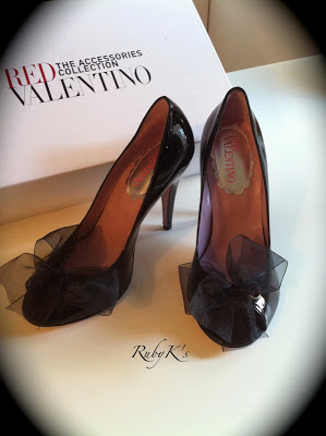 RED VALENTINO Satin Bow Open Toe
