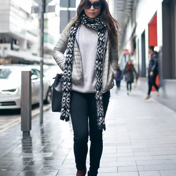 Street style in down jacket
