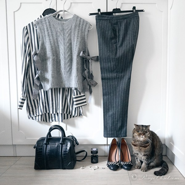 Office Outfit - Stripes on Stripes: Alice + Olivia Stripes Shirt, Alexander McQueen Pinstripe Wool Trousers