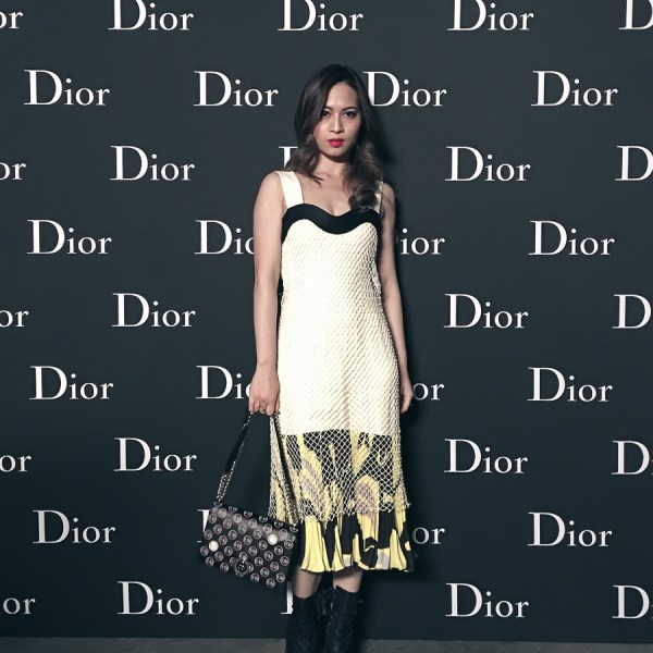 Dior Resort 2016 Printed and pleated yellow and off white silk dress