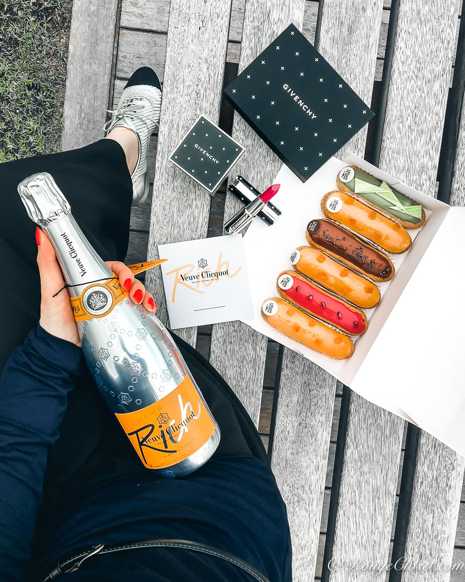 Happy Le French GourMay 2017! Celebrate the last working day of April with L'Eclair de Genie eclair champagne and Veuve Clicquot RICH champagne