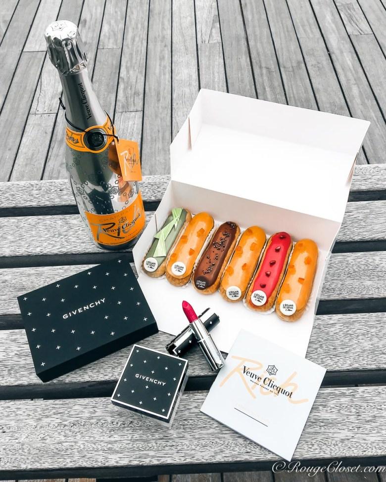 Happy Le French GourMay! L'Eclair de Genie eclair champagne, Veuve Clicquot RICH champagne and Givenchy Couture Edition Le Rouge & Le Prisme Libre