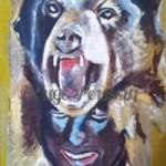 Tableau de Carole Alexandre représentant l'ours de Saint-Laurent-de-Cerdans pendant la fête.
