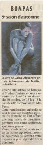 Article sur l'oeuvre de Carole Alexandre primée au 4 éme Salon d'automne à Bompas