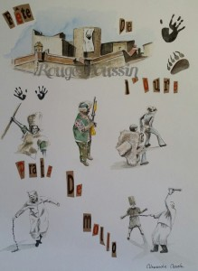 Aquarelle de Carole Alexandre représentant le Fort Lagarde de Prats-de-Mollo