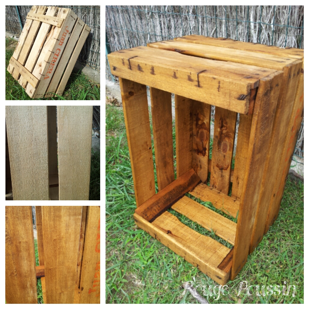 Caisse en bois avant/après le brou de noix
