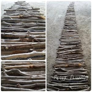 Alignement de bois flotté