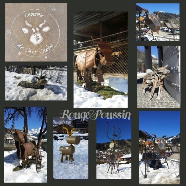 """Sculptures sur """"l'art de la vache"""" à Le Grand Bornand"""