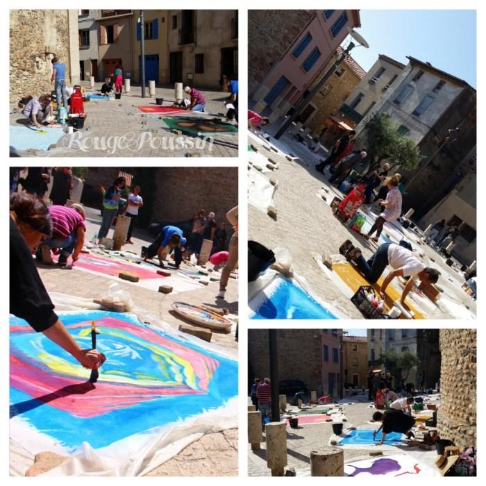 Les artistes peignent sur la place de l'église