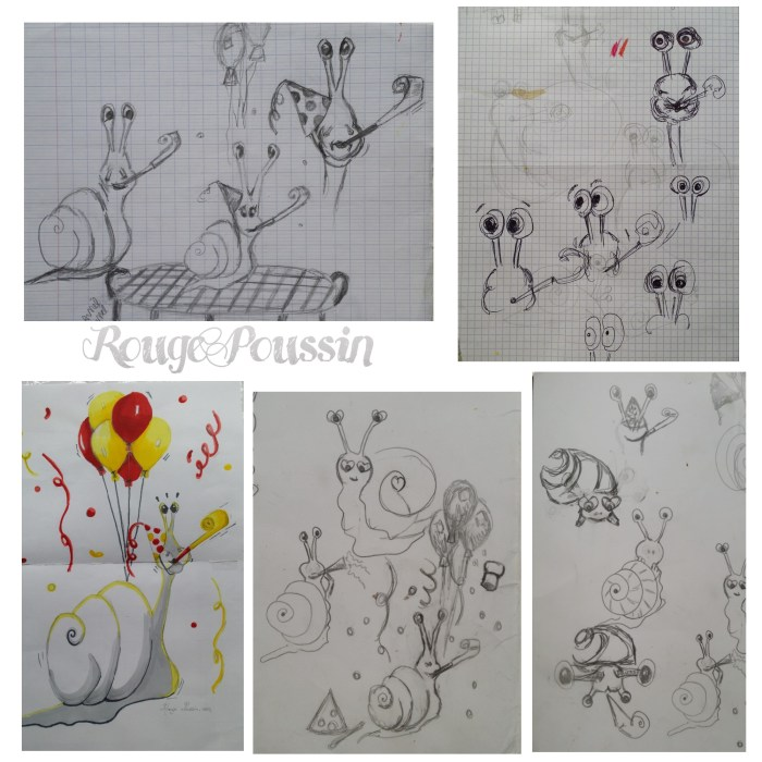 Dessins d'escargots au crayon à papier
