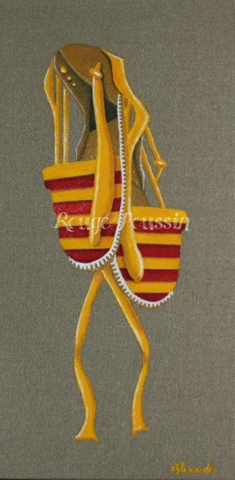 Espadrille catalane rayée sang et or à dominante jaune