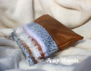 Pochette en cuir et laine Anny Blatt