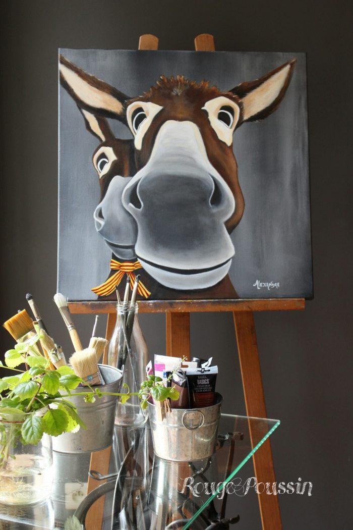 Léogâne : ânerie numéro 10. Tableau acrylique de Carole Alexandre représentant deux ânes.