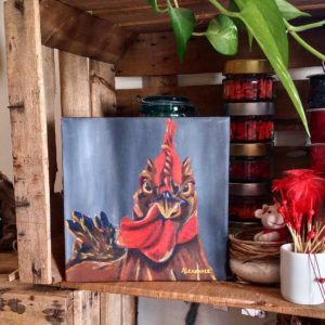 Tableau de Carole Alexandre représentant un coq.