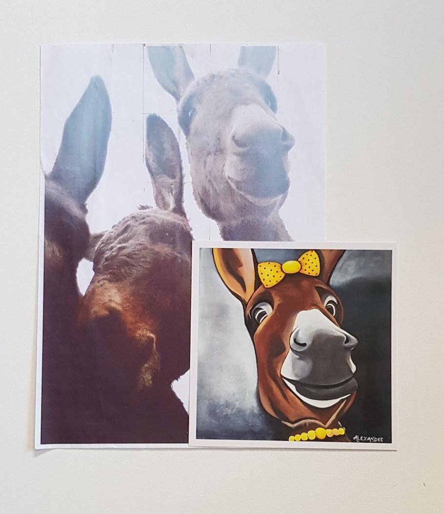 le portrait à l'acrylique d'une ânesse qui se prénomme Mistinguette