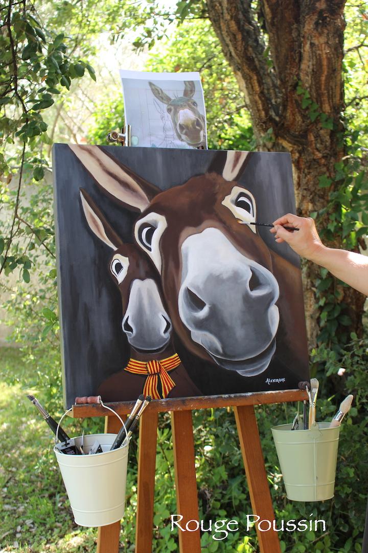 Portrait de l'âne Octave réalisé à l'acrylique.